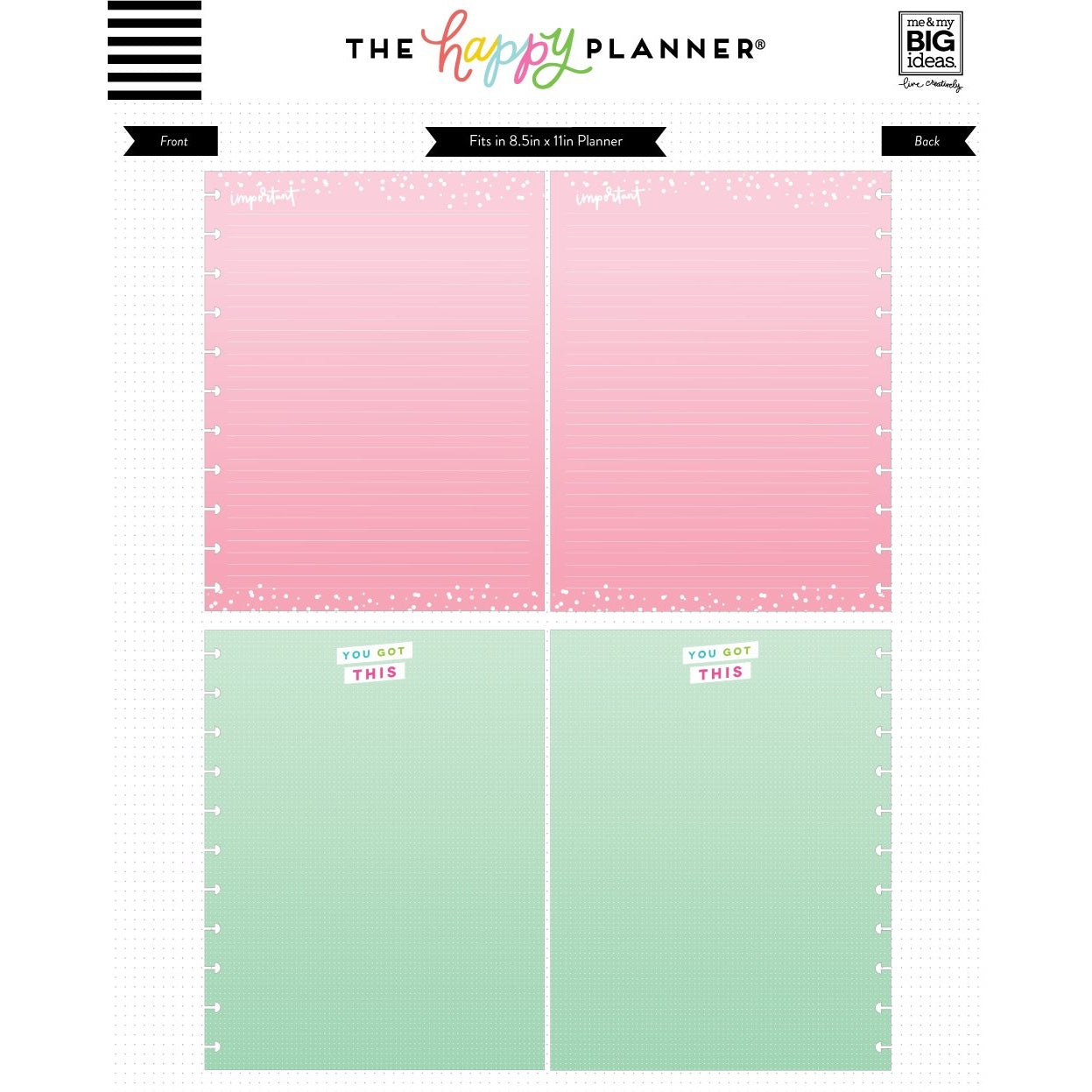 COLOURED NOTE PAPER - LIST OF THINGS : BIG HAPPY PLANNER