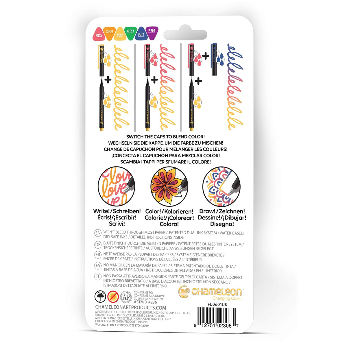 CHAMELEON FINELINERS 6PK : PRIMARY COLOURS