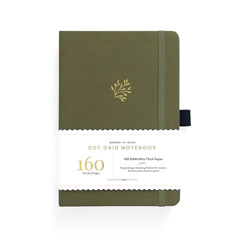 A5 DOT GRID NOTEBOOK : GREEN LEAF
