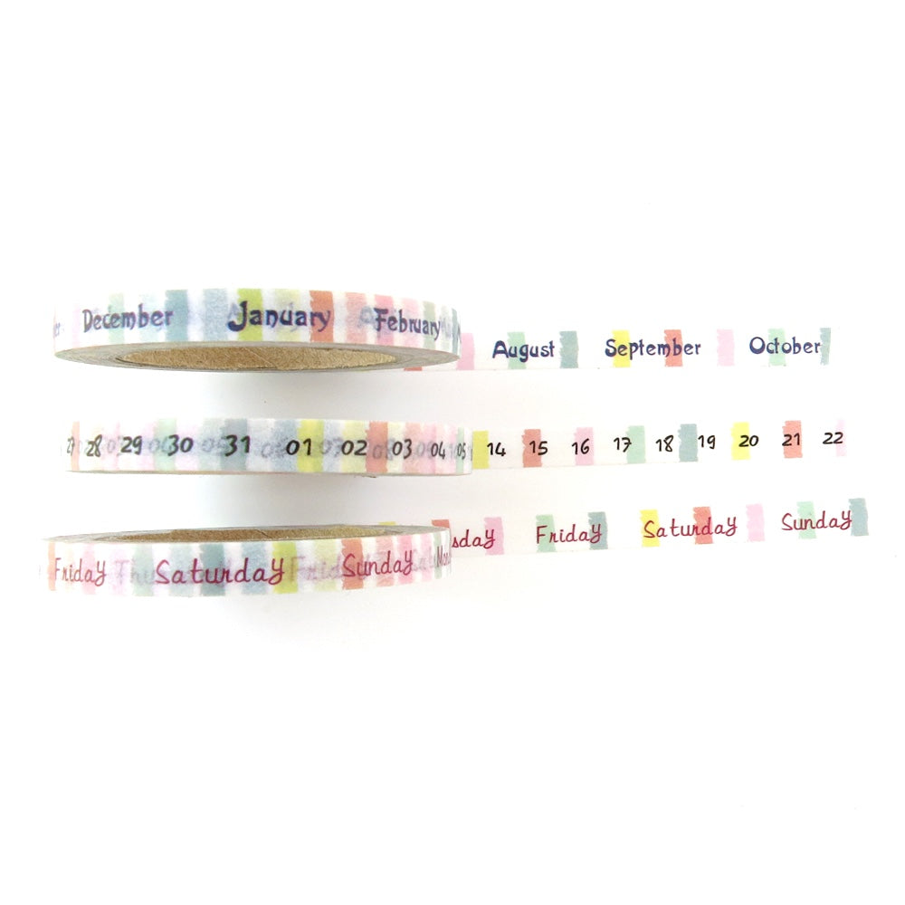 SKINNY WASHI TAPE SET : DAYS, MONTHS & DATES
