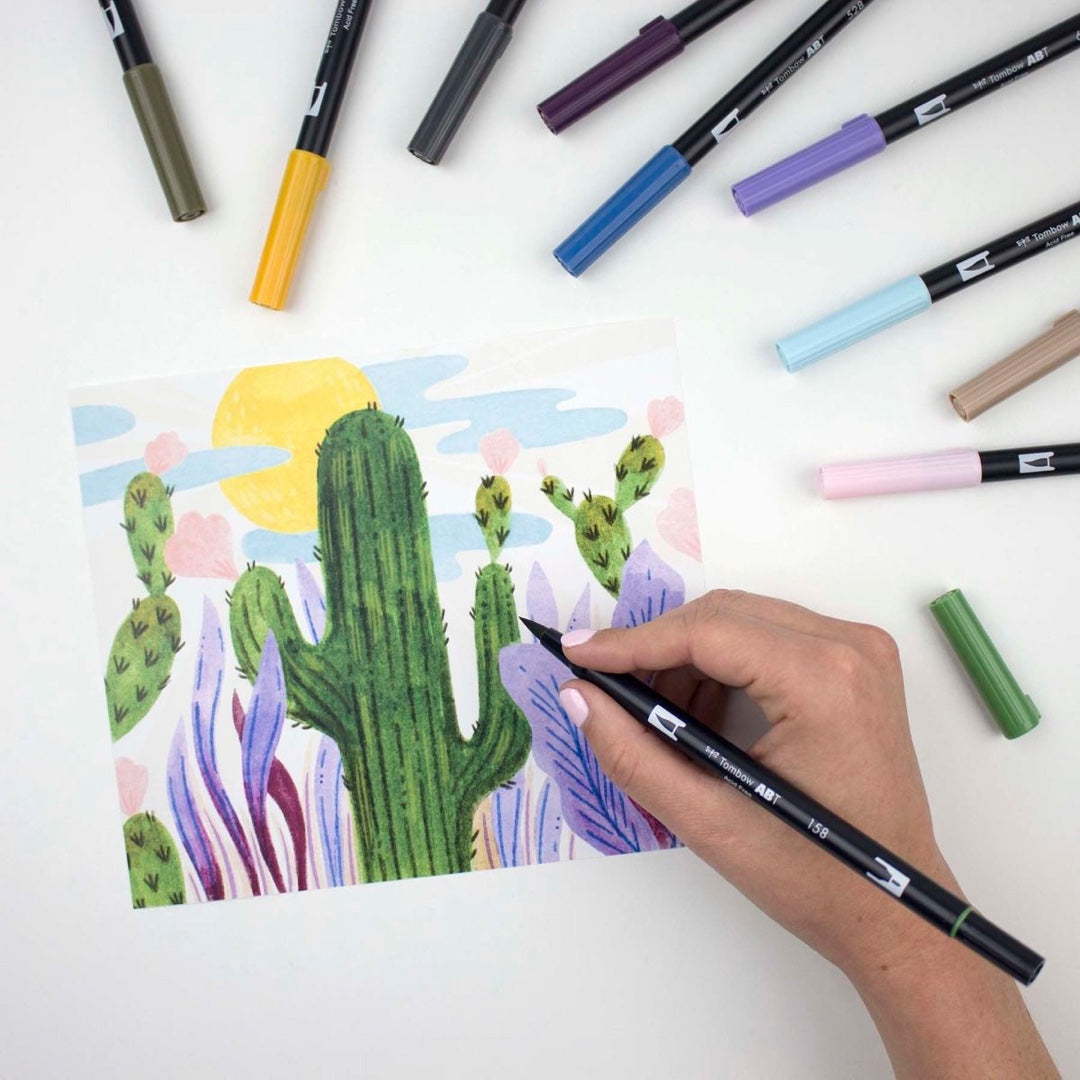 DUAL BRUSH PENS 10PK : DESERT FLORA COLOURS