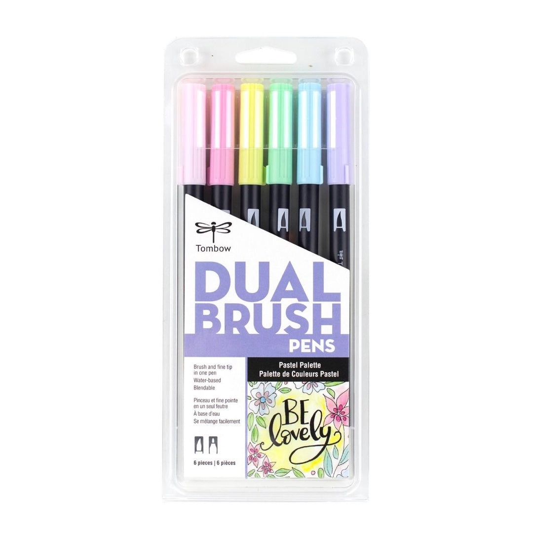 DUAL BRUSH PENS 6PK : PASTEL COLOURS