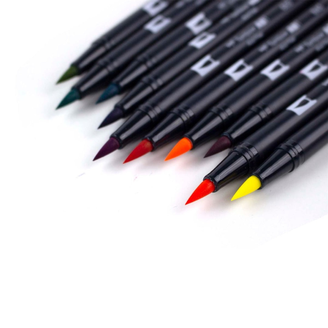 DUAL BRUSH PENS 10PK : RETRO COLOURS