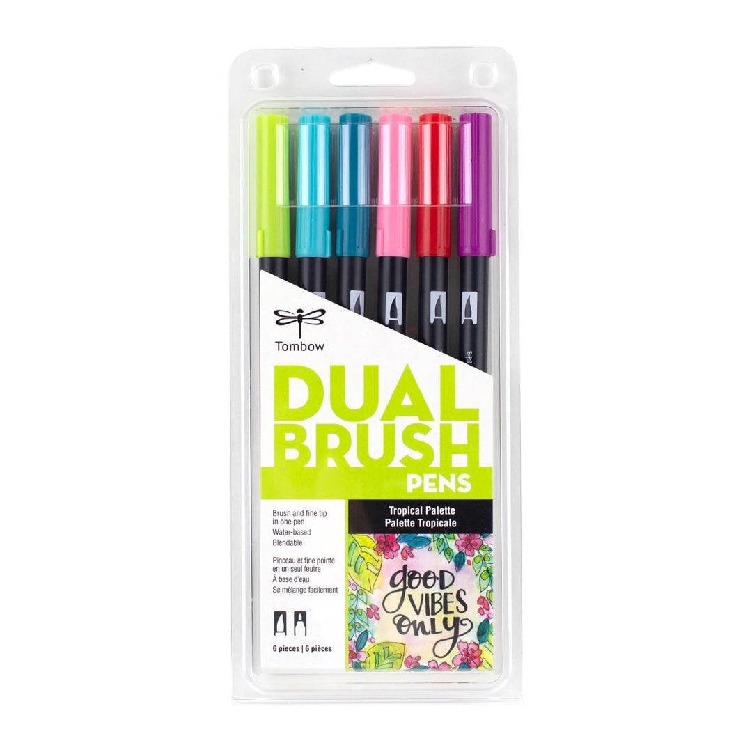 DUAL BRUSH PENS 6PK : TROPICAL COLOURS