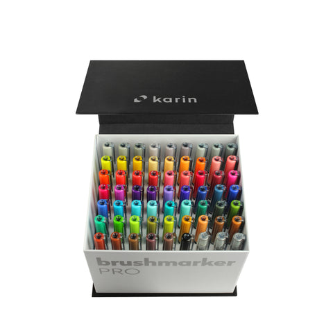 BRUSHMARKER PRO BRUSH PEN MEGA BOX : 60 COLOURS + 3 BLENDER PENS