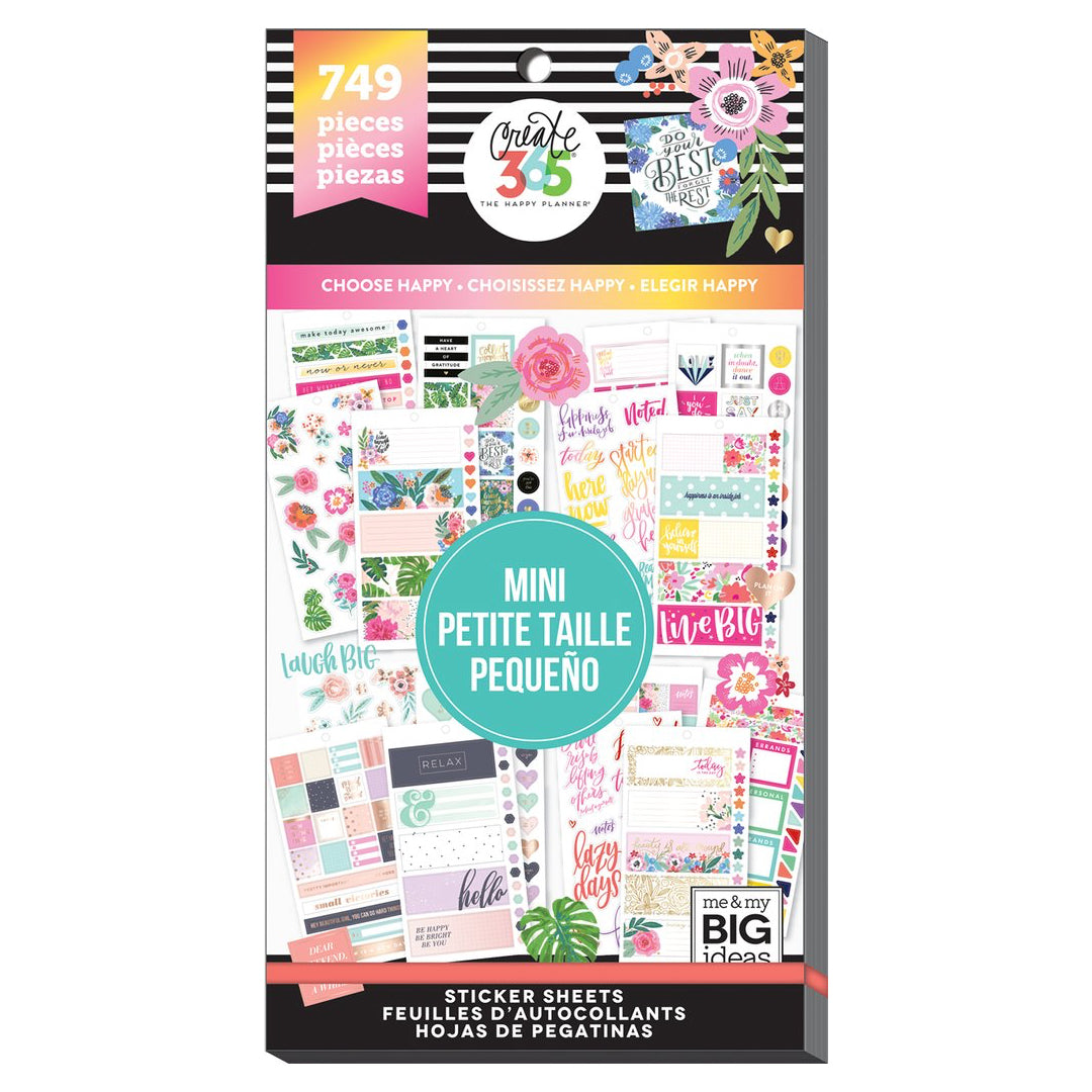 HAPPY PLANNER VALUE PACK STICKERS - MINI - CHOOSE HAPPY - WASHIGANG AUSTRALIA