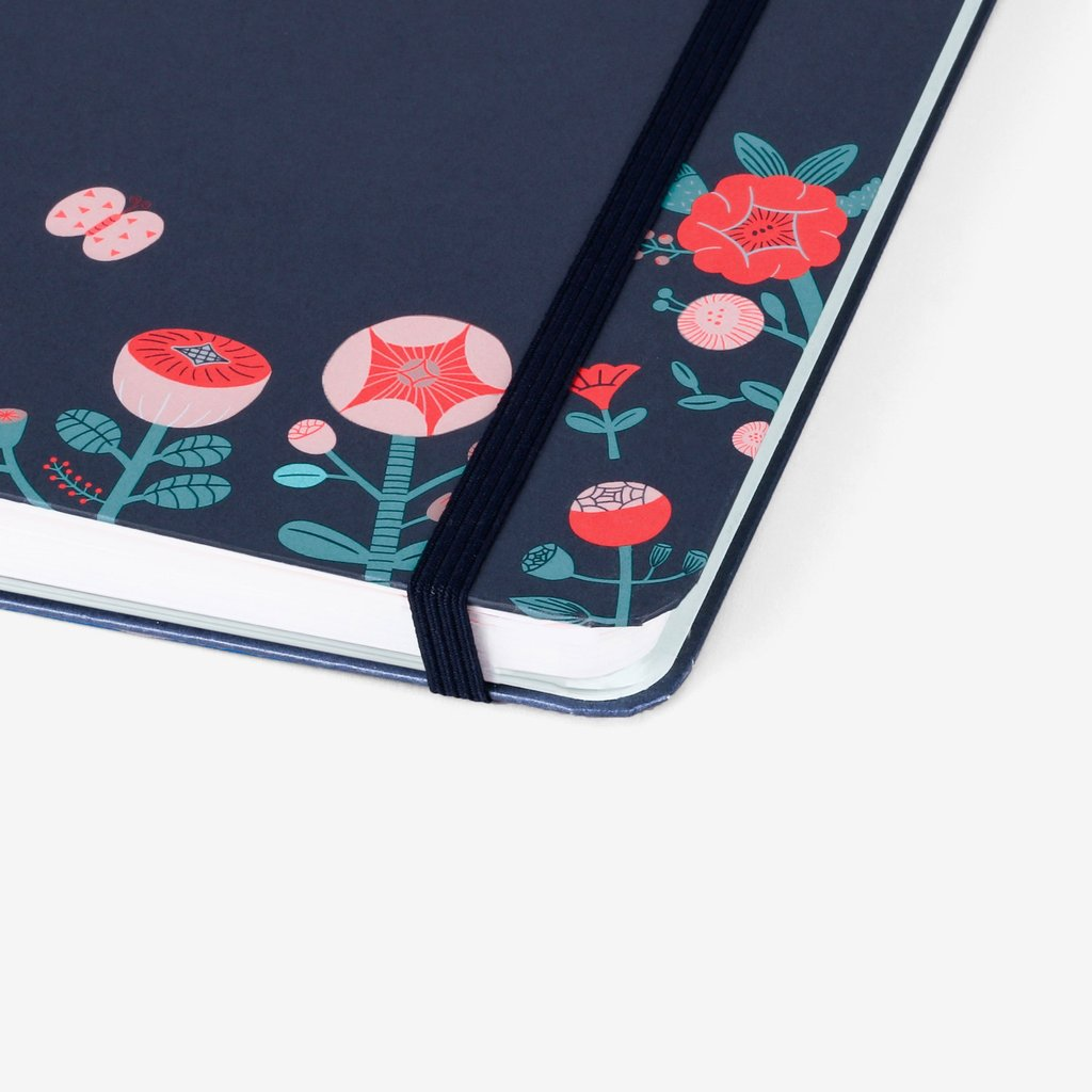 A5 DOT GRID THREADBOUND NOTEBOOK : FLOWER FOX EMBLEM