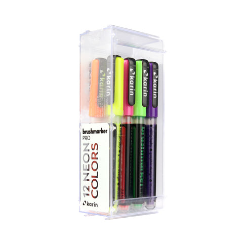 BRUSHMARKER PRO BRUSH PEN SET : 12 NEON COLOURS