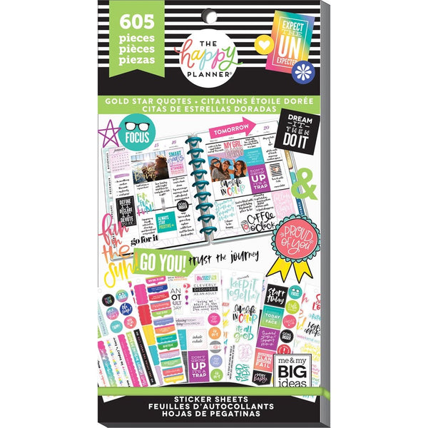 PRE-ORDER - HAPPY PLANNER VALUE PACK STICKERS : CLASSIC : GOLD STAR QUOTES