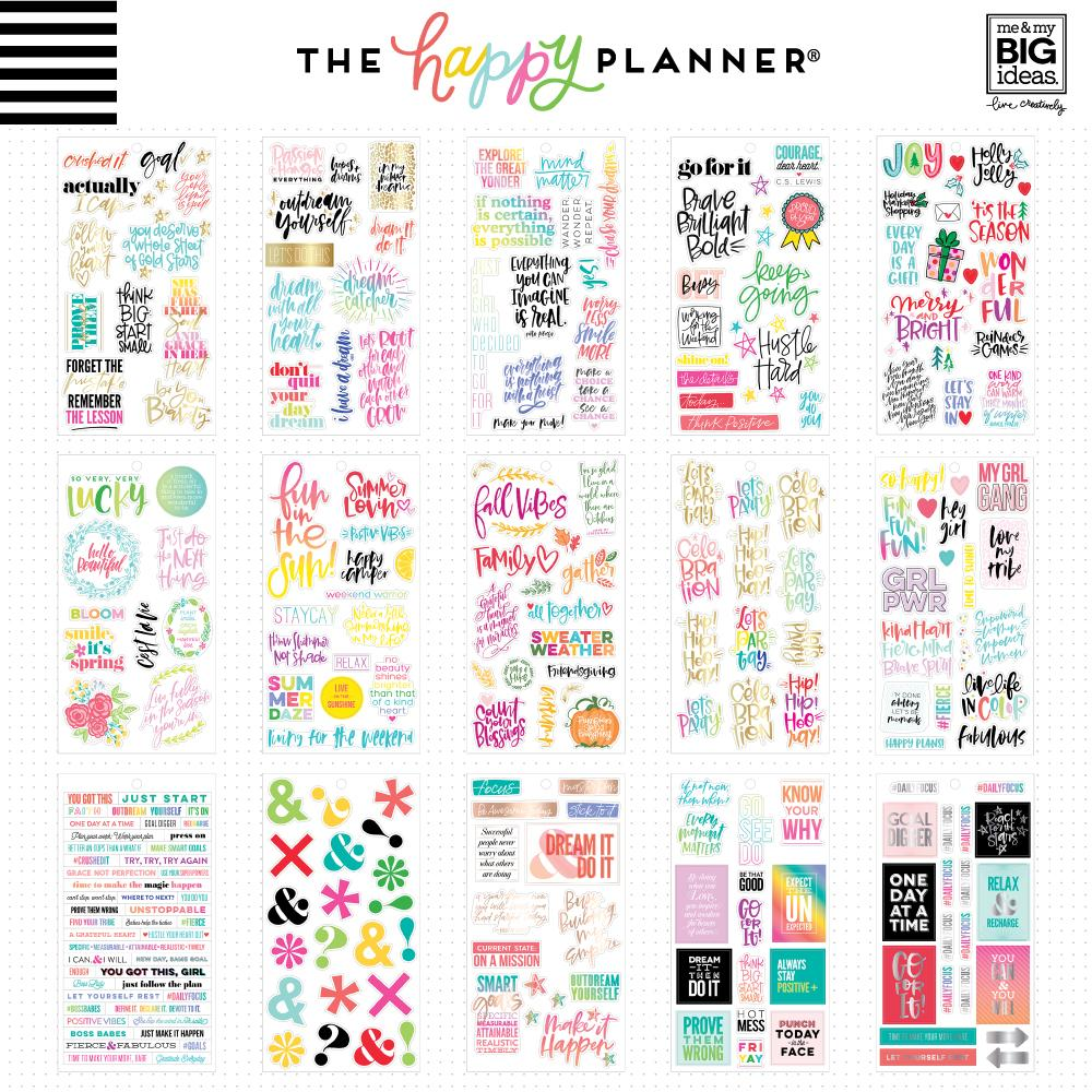 HAPPY PLANNER VALUE PACK STICKERS : CLASSIC : GOLD STAR QUOTES