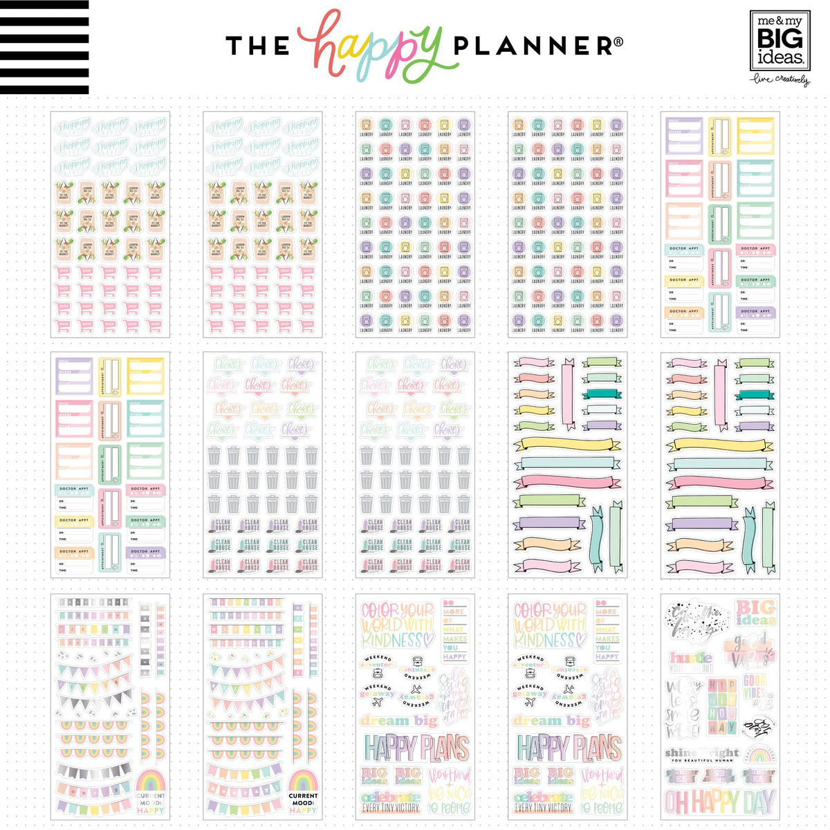 HAPPY PLANNER MEGA VALUE PACK STICKERS : PASTELS