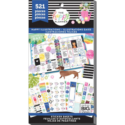 HAPPY PLANNER VALUE PACK STICKERS : CLASSIC : HAPPY ILLUSTRATIONS