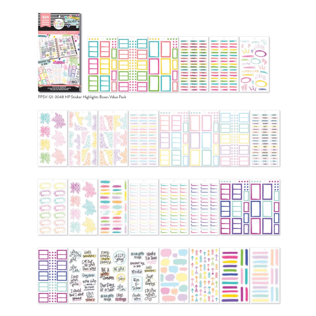 HAPPY PLANNER VALUE PACK STICKERS : CLASSIC : COLORFUL BOXES