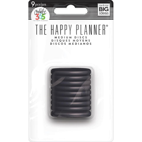 HAPPY PLANNER MEDIUM PLASTIC DISCS : BLACK