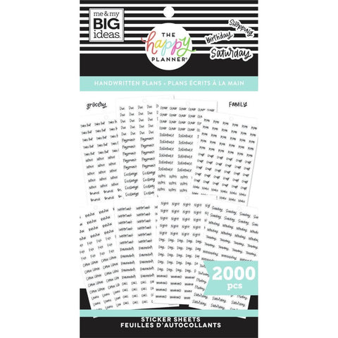 HAPPY PLANNER VALUE PACK STICKERS : CLASSIC : HANDWRITTEN PLANS