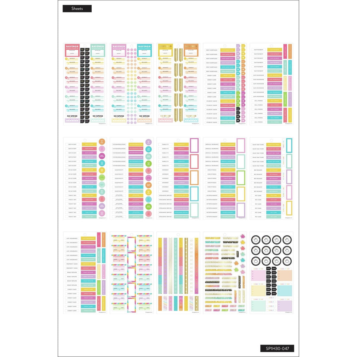 **SPECIAL IMPORT** HAPPY PLANNER VALUE PACK STICKERS : CLASSIC : SAVVY SAVER