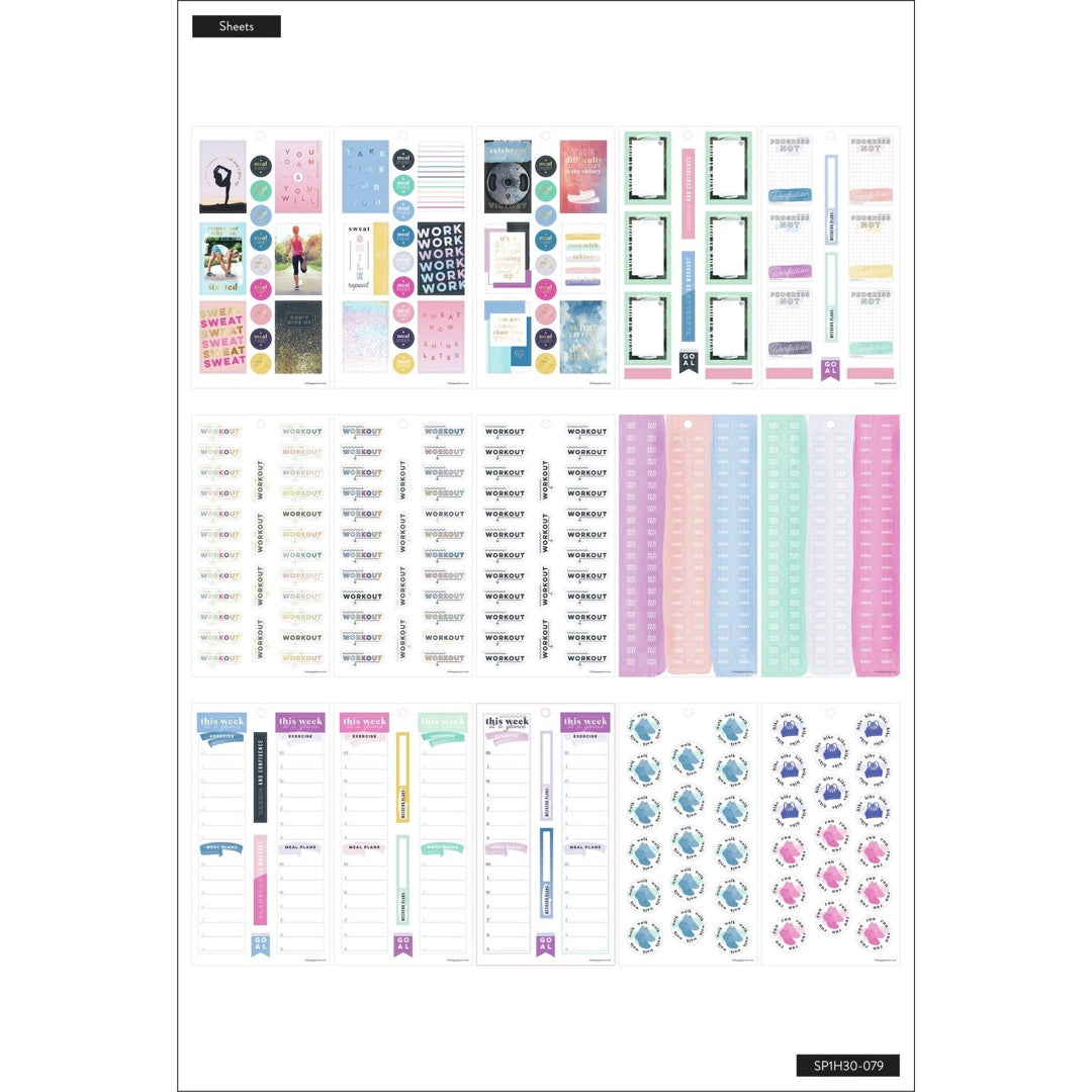 HAPPY PLANNER VALUE PACK STICKERS : CLASSIC : DON'T GIVE UP (FITNESS)