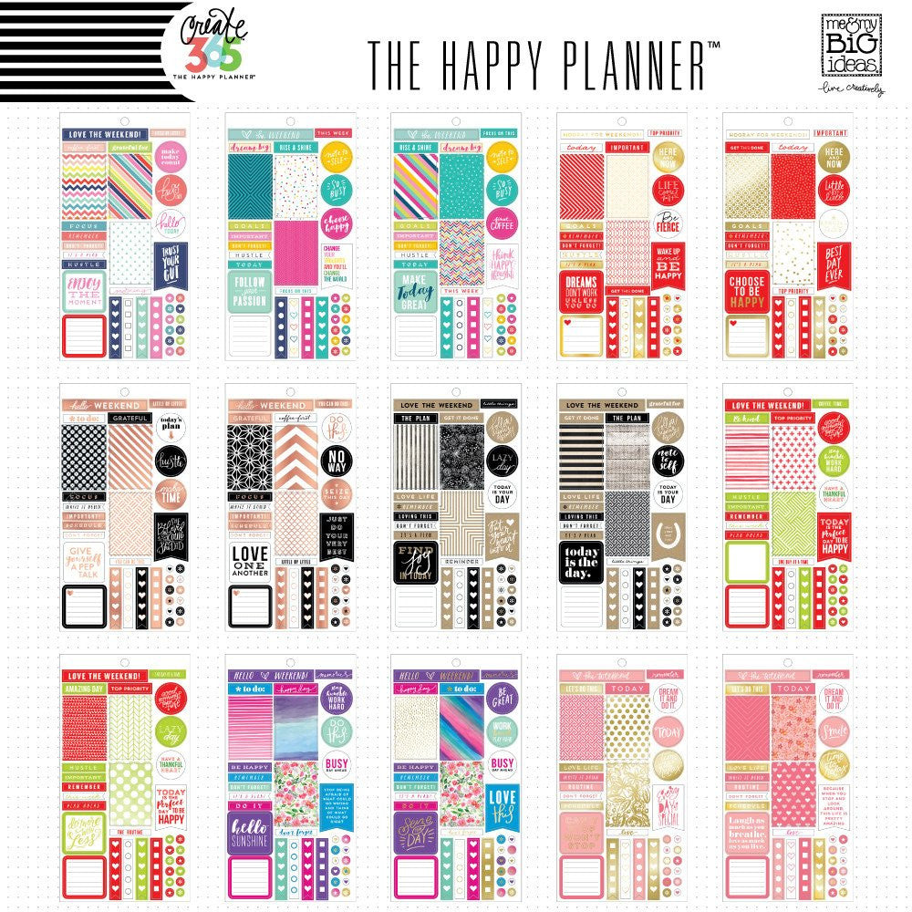 PLANNER STICKERS - COLOUR CO-ORDINATED VALUE PACK - HAPPY PLANNER - MAMBI - WASHIGANG