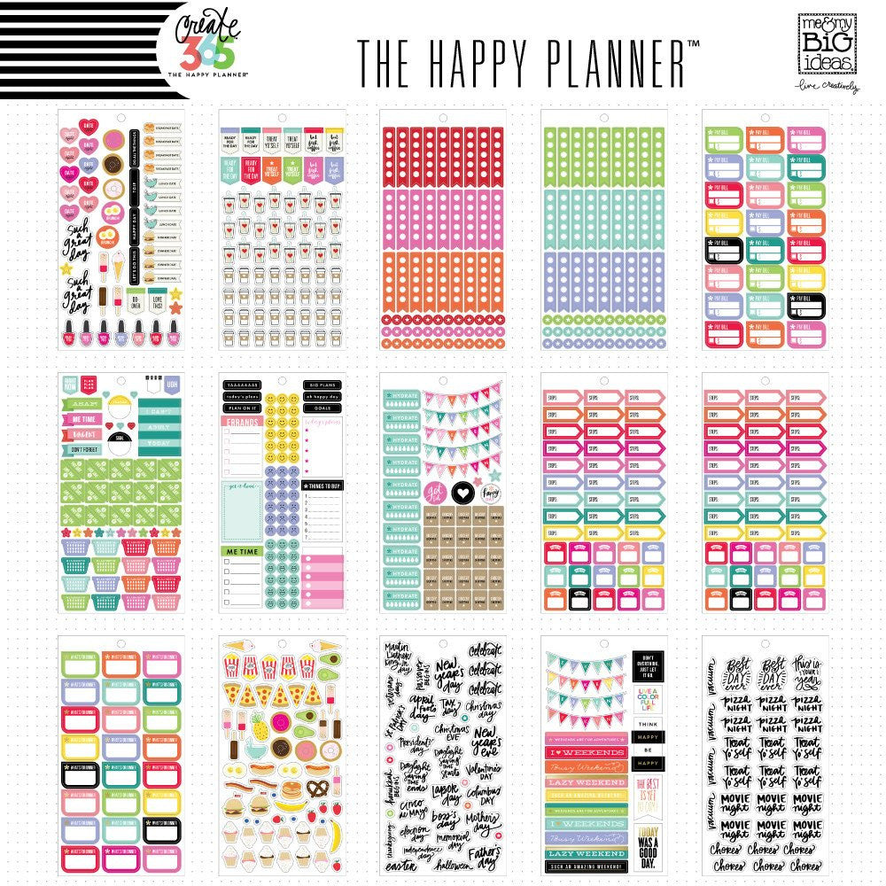 HAPPY PLANNER STICKERS - PLANNER BASICS VALUE PACK - MAMBI - WASHIGANG