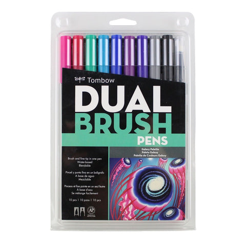 DUAL BRUSH PENS 10PK : GALAXY COLOURS
