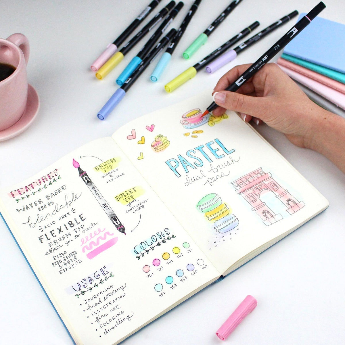 DUAL BRUSH PENS 10PK : PASTEL COLOURS