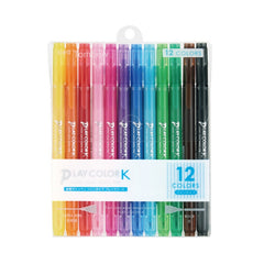 PLAY COLOR K TWIN-TIP MARKER PENS : 12PK