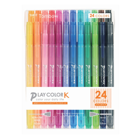 PLAY COLOR K TWIN-TIP MARKER PENS : 24PK
