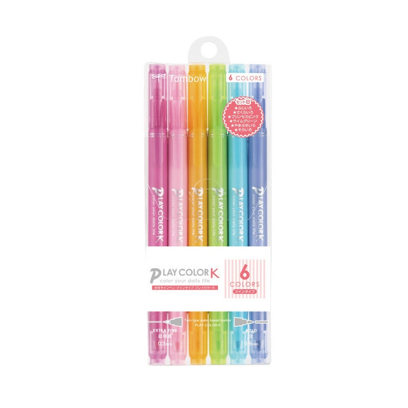 PLAY COLOR K TWIN-TIP MARKER PENS : 6PK (PASTELS)