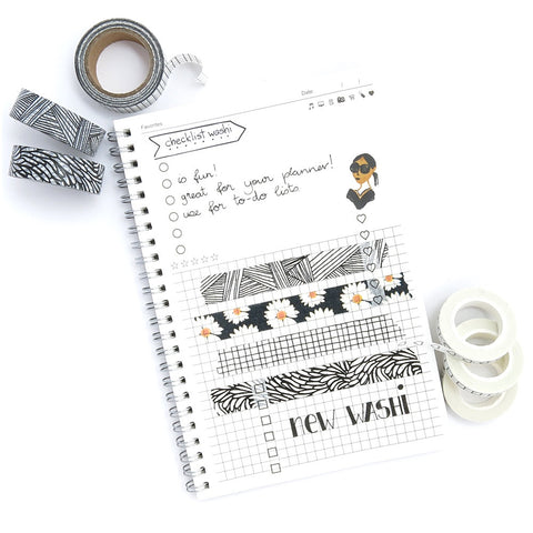 WASHI TAPE IDEAS - BLACK WASHI TAPE - JOURNAL PAGE - WASHIGANG