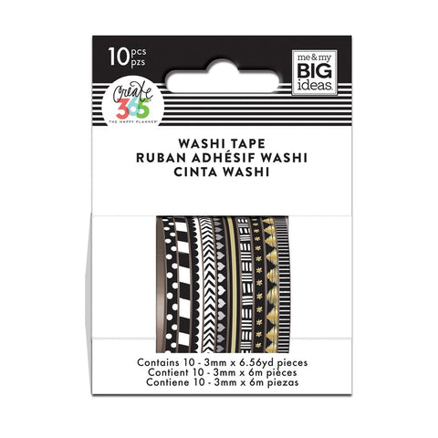 WTSS-01 BLACK AND WHITE MINI WASHI TAPE - THE HAPPY PLANNER