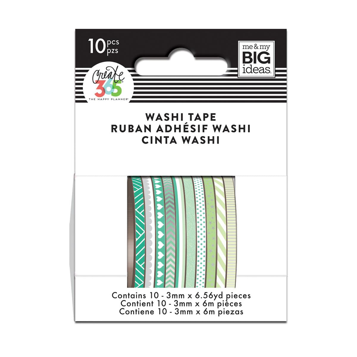 GREEN HUES SKINNY WASHI TAPE - THE HAPPY PLANNER WTSS-04