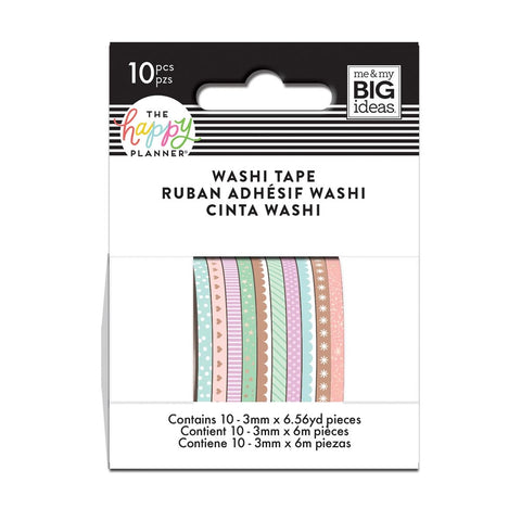 PASTELS SKINNY WASHI TAPE : THE HAPPY PLANNER