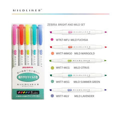 ZEBRA MILDLINER 5 COLOUR PACK - BRIGHT