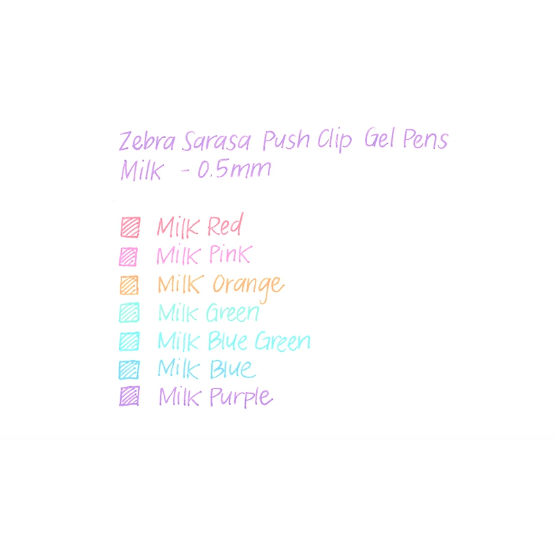 ZEBRA SARASA PUSH-CLIP GEL PENS 0.5MM - MILK COLOUR 8PK