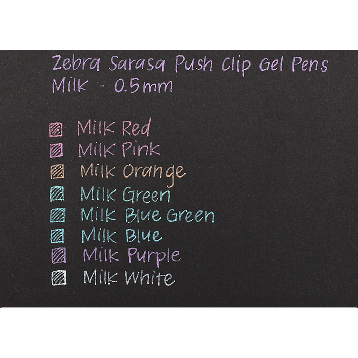ZEBRA SARASA PUSH-CLIP GEL PENS 0.5MM - MILK COLOUR