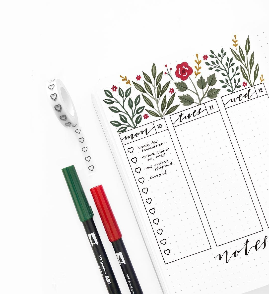 A5 DOT GRID NOTEBOOK : RED LEAF