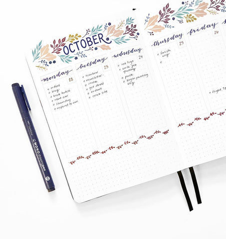 A5 DOT GRID NOTEBOOK : PINK FLOWERS