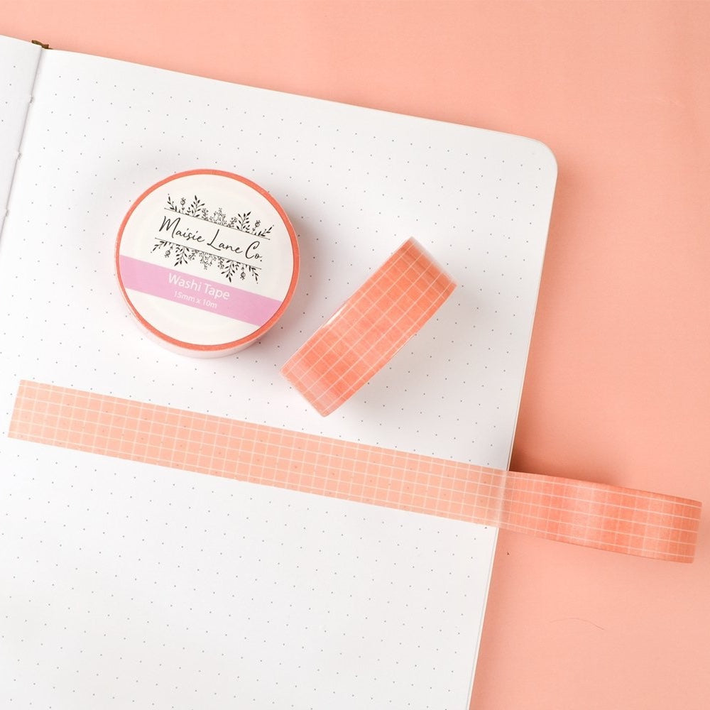 SALMON PINK GRID WASHI TAPE