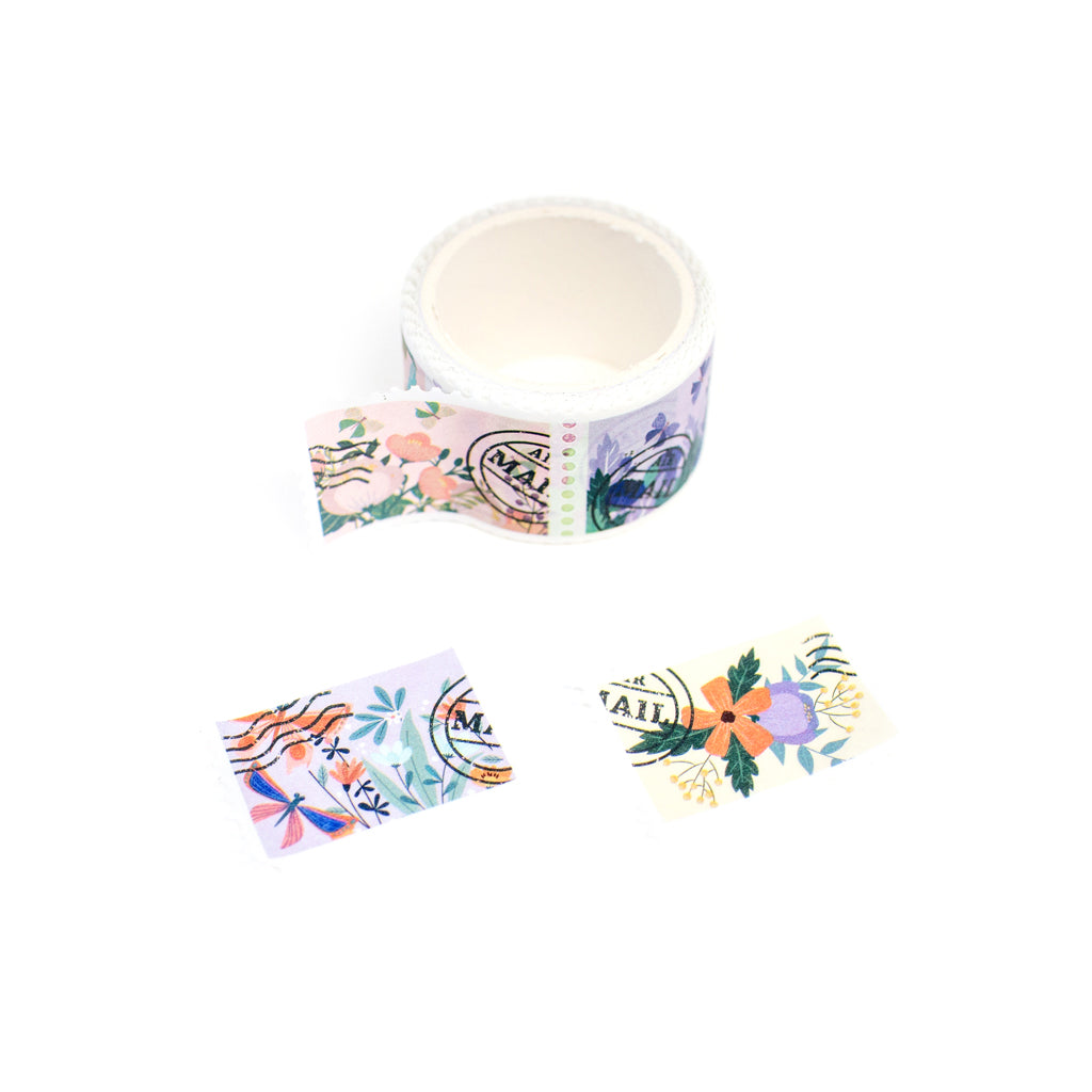 PERFORATED STAMP WASHI TAPE : FLORAL POSTAGE