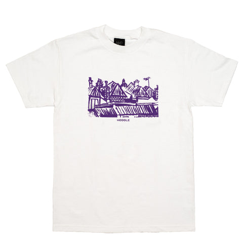 "HODDLE ""LANDSCAPE"" TEE WHITE & PURPLE"