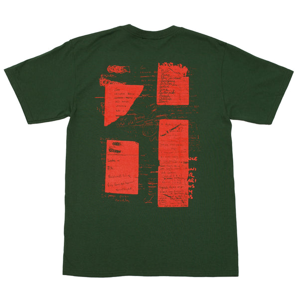 """SHOPPING LIST"" TEE FOREST GREEN/RED"