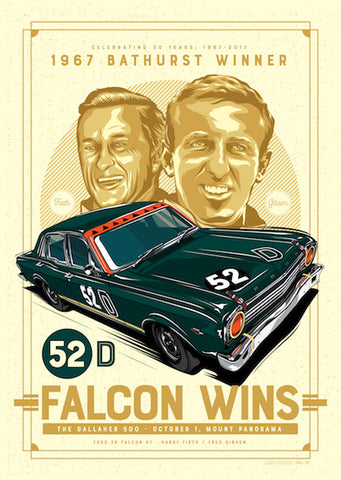 PRE-ORDER! Fred Gibson 1967 Bathurst 50th Anniversary Falcon XR GT Signed Illustrated Print - Limited Edition