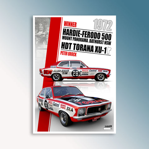 1972 Bathurst 500 Winner - Peter Brock, Peter Hughes Print