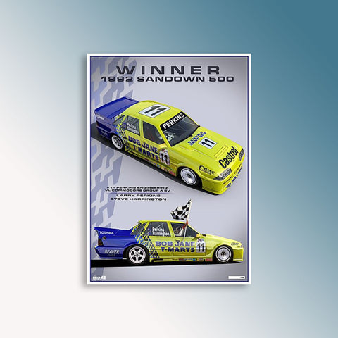 1992 Sandown 500 Winner - Perkins/Harrington, Peter Hughes Print