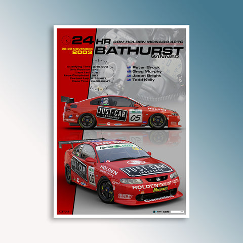 2003 Bathurst 24 Hour Winning Monaro, Peter Hughes Print