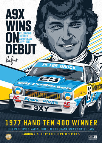 DON'T MISS OUT! 1977 Peter Brock Sandown Debut Win Torana A9X Limited Edition Illustrated Print