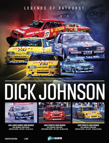 SIGNED Dick Johnson Bathurst 1000 Wins Poster, 1981, 1989, 1994, Limited To 200
