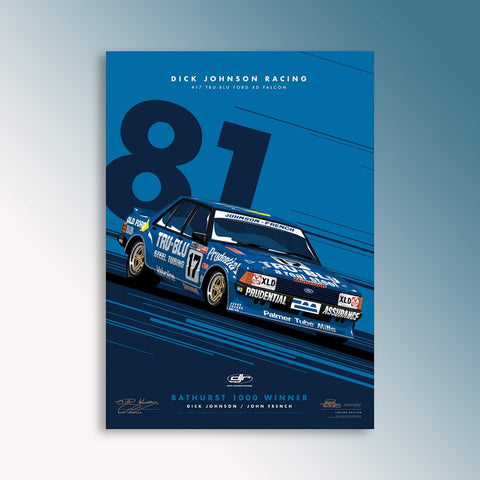 Dick Johnson Racing Tru-Blu '81 Bathurst Winner - Blue Limited Edition Signed Print (PRE-ORDER)