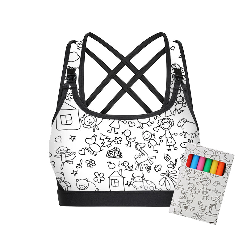MOVEMAMÍ - 'JOY' Colouring-In Coloring-In Nursing Sports Bra - Hay MAMI - MOVEMAMI - Best Maternity Activewear