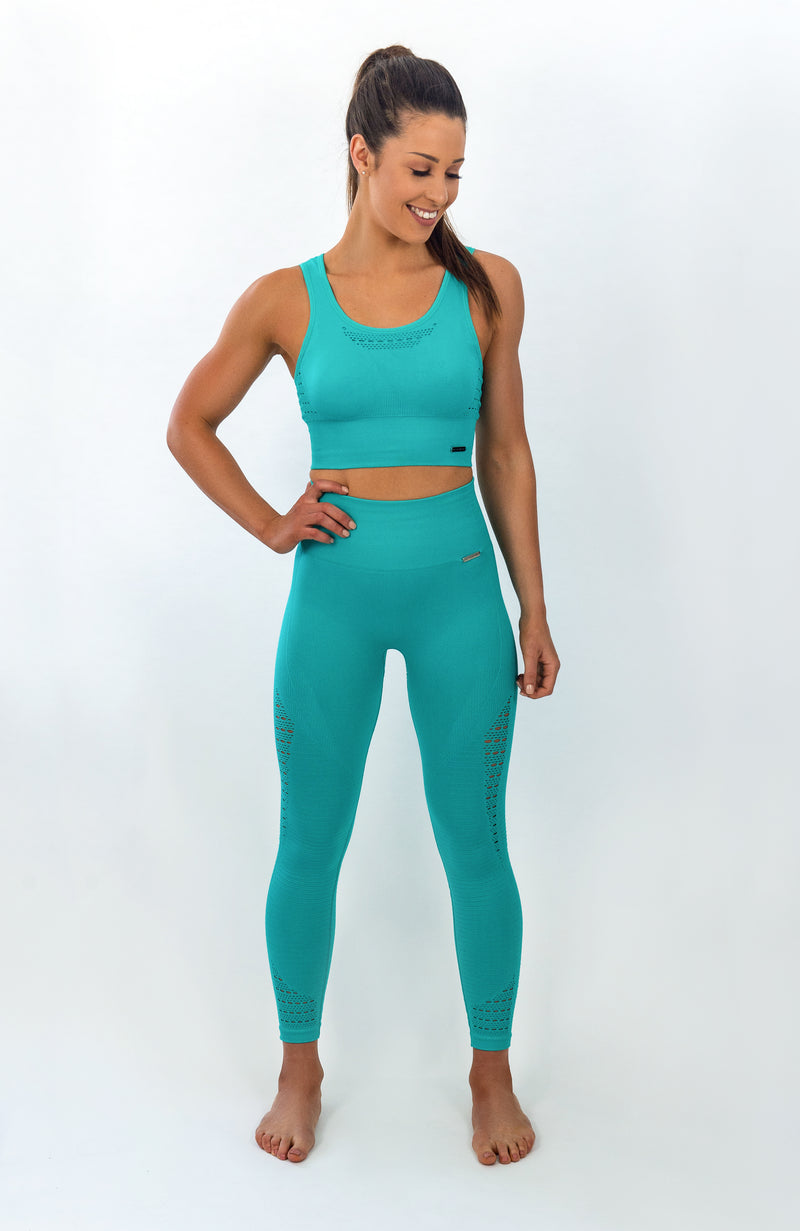 BIGOLA Seamless Leggings - 7/8 AnkleBiters - Blue Bahamas